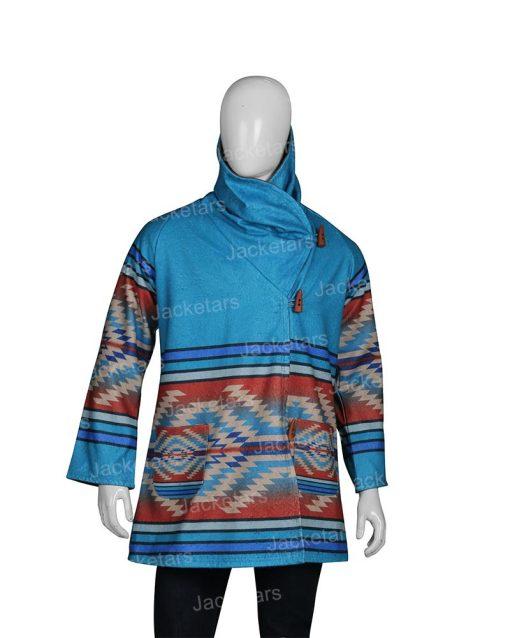 Yellowstone Beth Dutton Blue Hooded Wool Coat