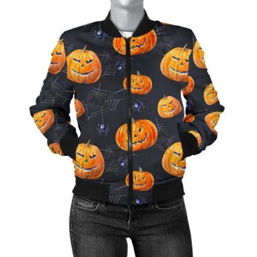 Halloween Pumpkin Print Bomber Jacket