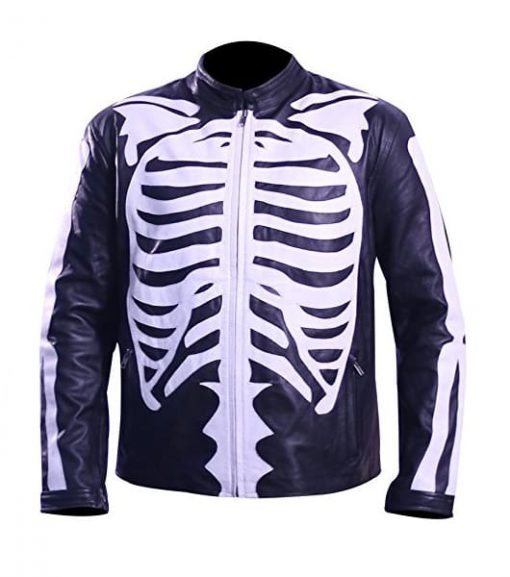 Halloween Skeleton Leather Black Jacket
