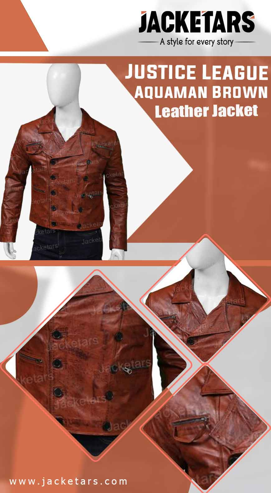 Justice League Aquaman Brown Leather Jacket info