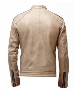 Mens Beige Cafe Racer Leather Jacket