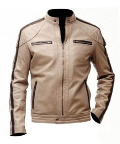 Mens Beige Leather Jacket