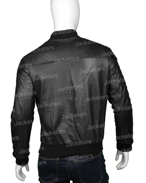 Mens Black Bomber Jacket Back.jpg