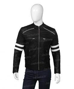 Mens Cafe Racer Retro Leather Jacket