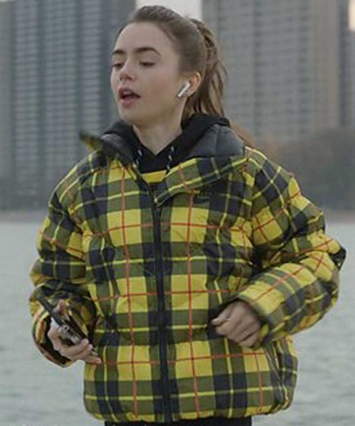Emily Cooper Emily In Paris Lily Collins Yellow Plaid Jacket.