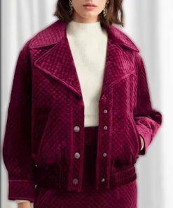 Emily Cooper Emily in Paris Maroon Velvet Jacket