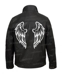 Halloween Black Wings Printed Leather Jacket
