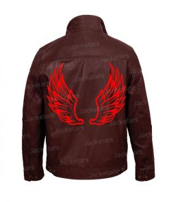 Halloween Wings Maroon Leather Jacket
