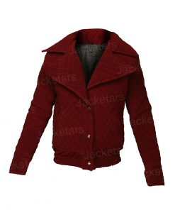 Lily Collins Emily Cooper Emily in Paris Maroon Jacket.jpg