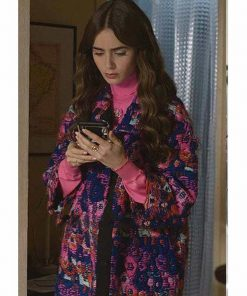 Lily Collins Emily In Paris Floral Coat