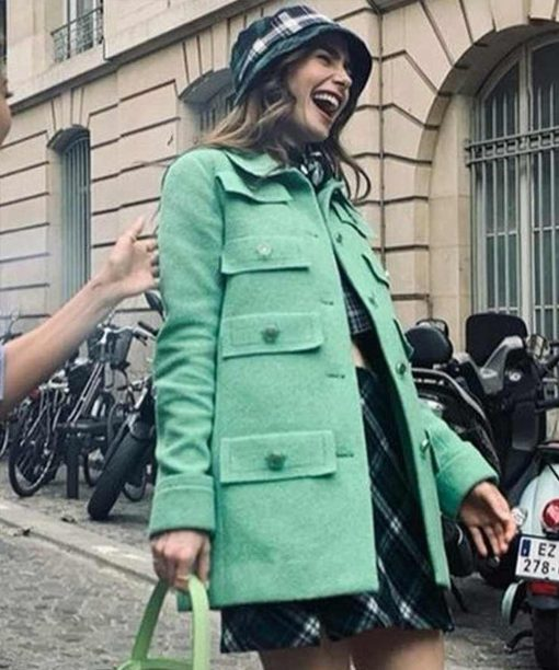 Lily Collins Emily In Paris Green Wool Coat