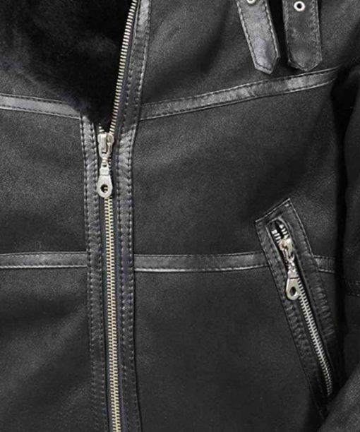 Mens Aviator B16 Shearling Black Leather Jacket