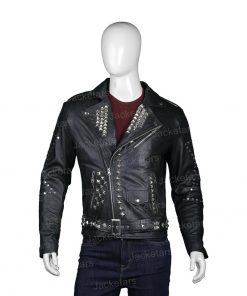 Mens Biker Studded Black Leather Jacket