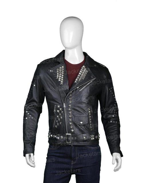 Mens Biker Studded Black Leather Jacket