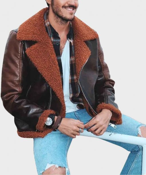 Mens Brown Distressed Aviator Shearling Leather Jacket