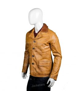Mens Brown Leather Blazer Coat.jpg