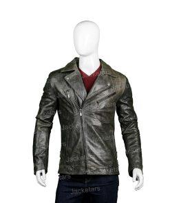 Mens Distressed Biker Black Leather Jacket