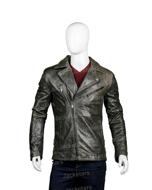 Mens Distressed Biker Black Leather Jacket