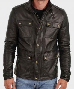 Mens Four Pocket Café Racer Black Jacket
