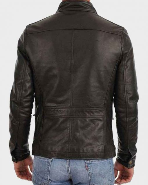 Mens Four Pocket Café Racer Black Leather Jacket