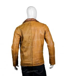 Mens Tan Brown Leather Blazer Coat.jpg