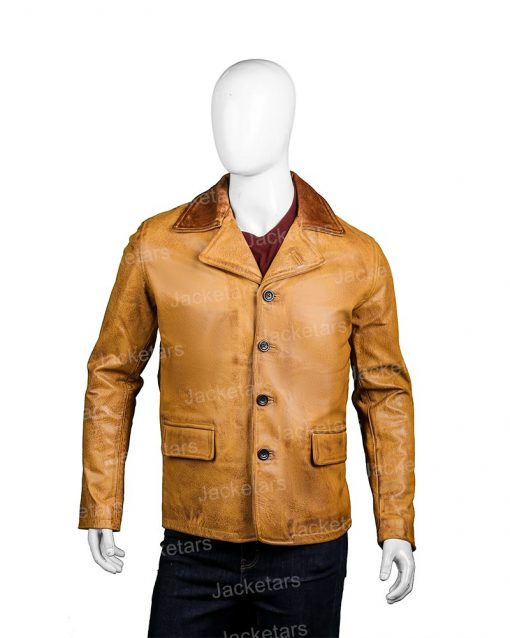 Mens Tan Brown Leather Coat