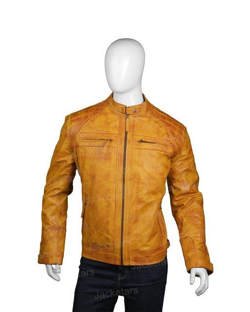 Mens Waxed Shoulder Tan Brown Jacket