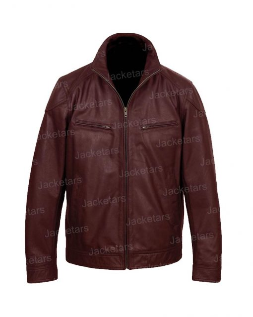 Mens Wings Maroon Leather Jacket