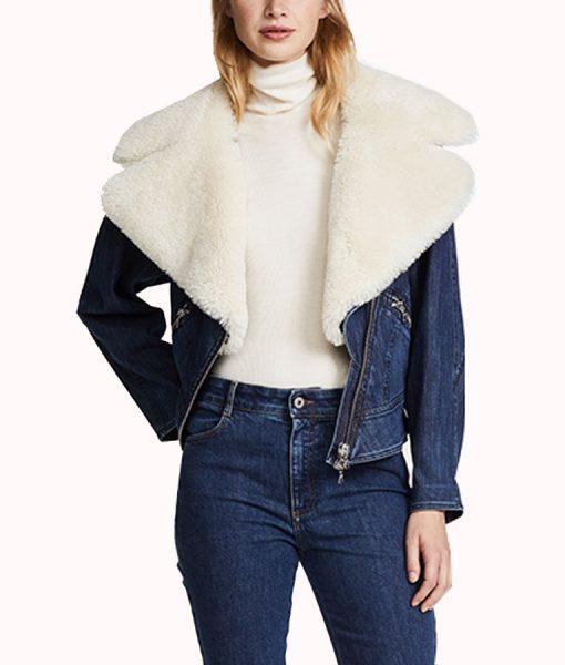 Pretty Little Liars Ava Jalali Blue Denim Shearling Jacket