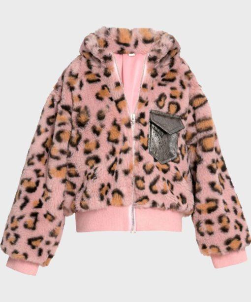 Womens Fur Pink Cheetah Bomber Jacket