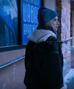 Holidate Emma Roberts Black Shearling Jacket