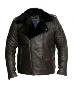 Mens Motorcycle Black Shearling Jacket