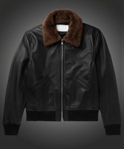 Mens Black Shearling Bomber Jacket.jpg