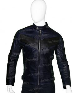 Mens Cafe Racer Navy Blue Biker Jacket