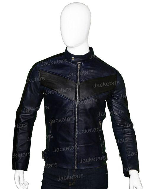 Mens Cafe Racer Navy Blue Biker Jacket