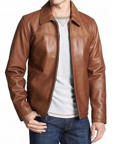 Mens Casual Brown Leather Jacket