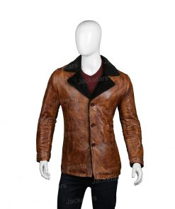 Mens Distressed Brown Fur Leather Coat