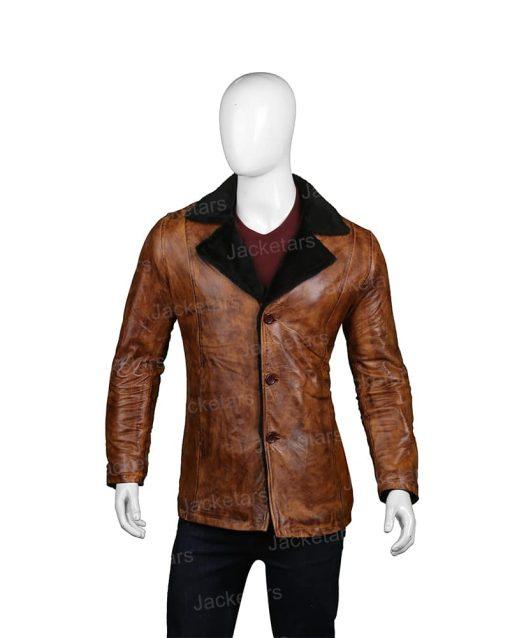 Mens Distressed Brown Fur Leather Coat