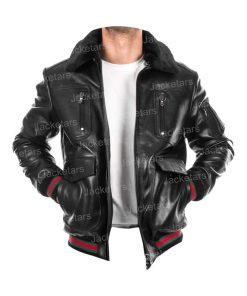 Mens Shearling Black Leather Jacket