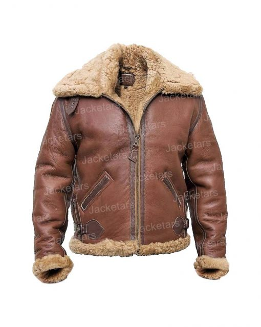 Mens Shearling Bomber Leather Jacket