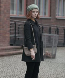 The Queen's Gambit Beth Harmon Black Wool Coat