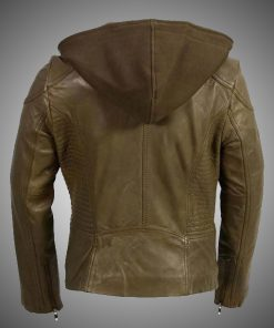 Womens Biker Olive Leather Jacket