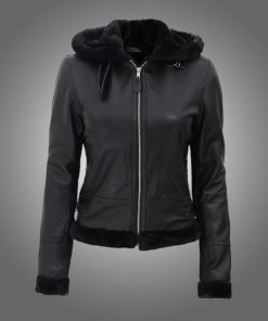 Womens Black Fur Hooded Leather Jacket