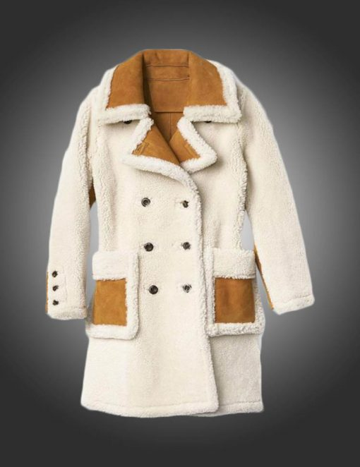 Womens Double Breasted Shearling Brown Coat