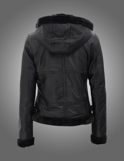 Womens Fur Hooded Black Leather Jacket
