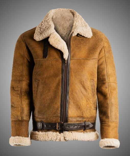 Mens Aviator Shearling Brown Leather Jacket
