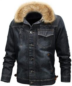 Mens Casual Denim Shearling Jacket