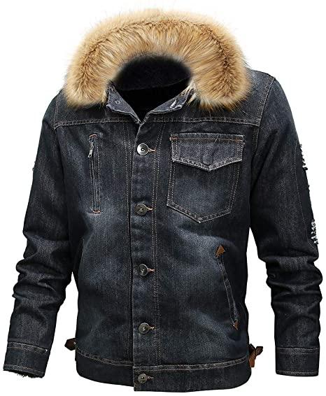 Mens Casual Denim Shearling Jacket