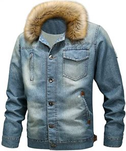 Mens Casual Shearling Denim Jacket