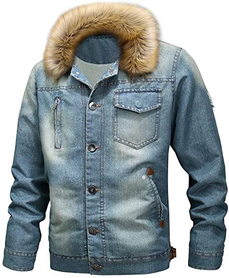 Mens Casual Shearling Denim Jacket